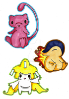 Mew, Jirachi and Cyndaquil by Zellerific