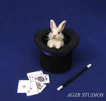 Handmade bunny Abracadabra and magician set by AGZR-STUDIOS