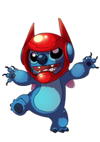 Stitch with a Baymax helmet by WTFmoments