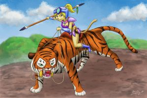 Cybie and Tykie - Amazoness and Beast (Colored) by CyberPikachu