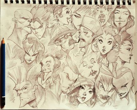 Crowded Face Doodles  by COLOR-REAPER