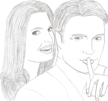 Castle and Beckett Drawing by bubblenubbins