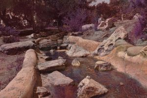 Rocky Stream With Texture Premade Background Stock by annamae22