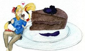 Watercolor - Chocolate Torte by Lear-is-not-amused