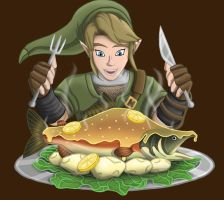 Link finally gets something to EAT! by Dragonauroralight