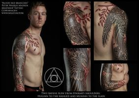 Ravens and the blood red branches by Meatshop-Tattoo