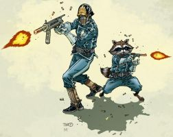 Rocket and Starlord by timothygreenII