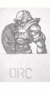 Traditionally Drawn Orc, Shaded. by DallinLemon