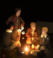 Pilots playing cards by Frozen-lullaby