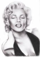 Marilyn Monroe charcoal drawing by Art-SamiKahelin