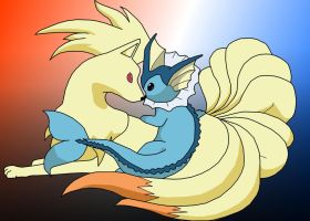 Ninetales and Vaporeon by xAzaXx
