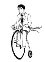 Master Keaton, penny farthing by crawdadEmily