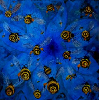 Bees 61x61 Acrylic On Canvas And Paper 2017 by rodulfo