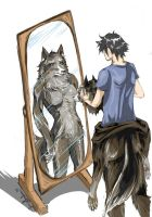 Commission: Wolf in the mirror by ShiningShadow