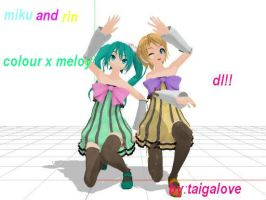 MMD rin y miku hatsune colour x melody DL! by taigalove