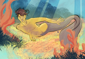 Merman swimming by deathbearbrown