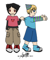 Emoti-Kids: Ty and Taily by happy-gurl