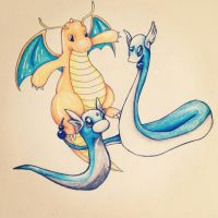 Pokemon ~ Dratini | Dragonair | Dragonite by Aimss-Art