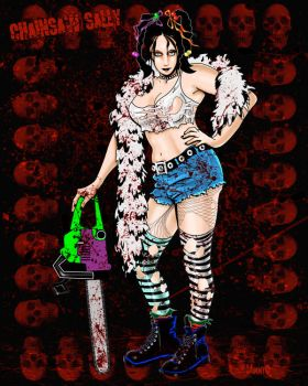 Chainsaw Sally - drawing 1 by JimmyOBurrl