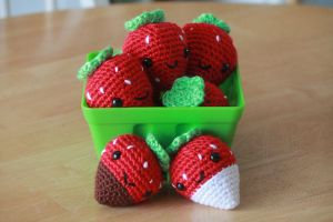 Strawberry Keychains - for sale on Etsy by theyarnbunny