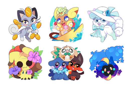 Pokemon: Summer Alola Stickers by QueenAshi