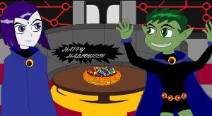Beast Boy-Raven Halloween by TeenTitansMan