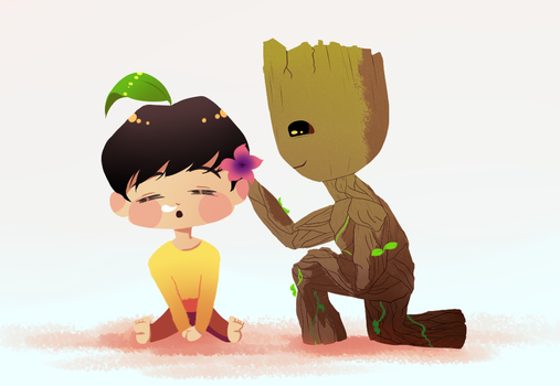Flower Xing and Baby Groot by JungTaco