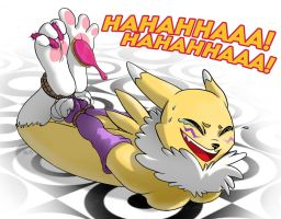 Renamon's Paws Tickled [commission] +feet variant by Rgevskiy