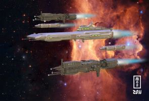 Carrier Escort Space Fleet by bishop2z3z
