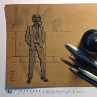 INKtober 2015 #15 - Business As Usual by 13Jo