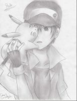 Pokemon Trainer Red (traditional art) by SakuraAlice33