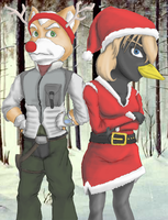 Fox and Nessa X-Mas artwork by 44thwindsword