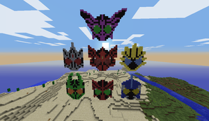 Kamen RIder OOO combos Minecraft pixel version by Gray-Vizard