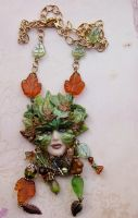 Green Woman Necklace by elvenelysium