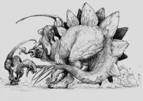stegosaurus and raptors by Zombiraptor