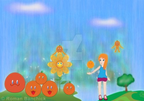 Orange kawaii rain by StarLightAwoke