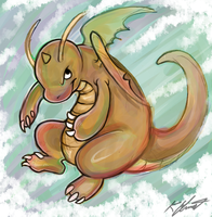 Colored Dragonite Scetch by SilverdragonKathy