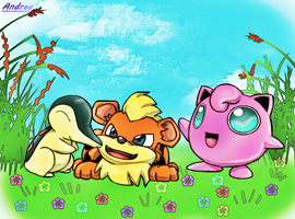 Cyndaquil,Growlithe And Jigglypuff by CreepyMoon