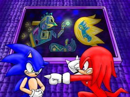 sonic and knuckles fight by Tete-chin