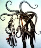 Slenderman with Girl by Irasemma