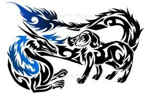 Tribal Dragon + English Spaniel Tattoo Commission by DansuDragon
