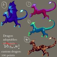 Batch 1 Neon Dragons  30 points each by Ravenskysong
