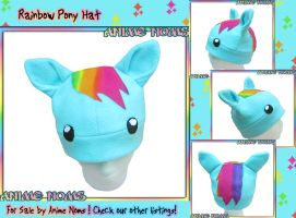 Chibi Rainbow Pony Fleece Hat by AnimeNomNoms