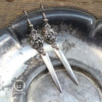 Silver Fork Tine Earrings with Flowers by Doctor-Gus