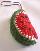 crochet watermelon charm by midorigraphic