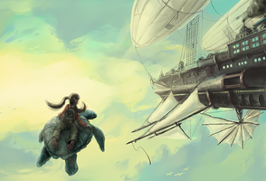 Flying turtle by ThroughSpaceAndTime