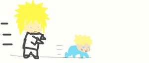 Minato Chasing Lil'Naru! by PeachBerryDivision