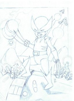 Wolverine Vs. Sentinels Pencils by bamf27art