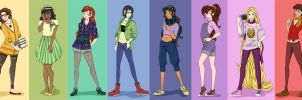 Hipster Disney Princesses + the Emperor by mayanna