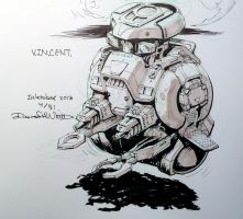 Inktober #4 V.I.N.CENT. by Mecha-Zone